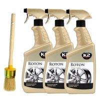 Zestaw: 3x K2 Roton płyn do mycia felg i kołpaków 700ml + pędzel