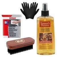 Zestaw: K2 Leather Cleaner do czyszczenia skóry 221ml + szczotka, ściereczki i rękawiczki