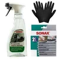 Zestaw: Sonax do czyszczenia wnętrza samochodu 500ml + gąbka i rękawiczki