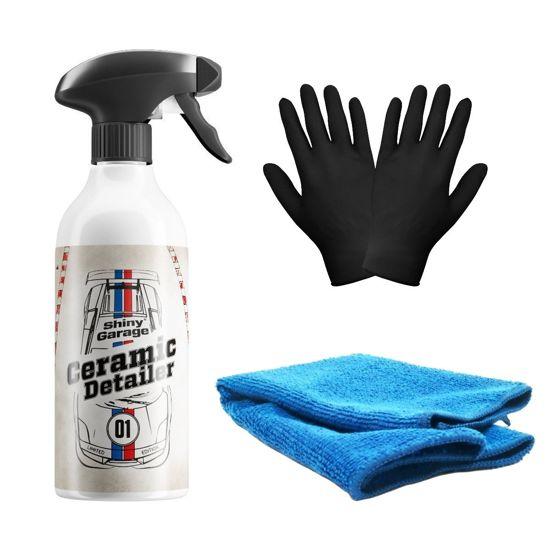 Zestaw: Shiny Garage Icy Ceramic detailer 500ml + mikrofibra i rękawiczki